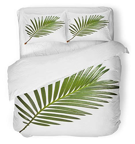 - Emvency 3 Piece Duvet Cover Set Breathable Brushed Microfiber Fabric Plant Green Leaf of Palm Tree on White Frond Coconut Branch Forest Foliage Bedding Set with 2 Pillow Covers King Size