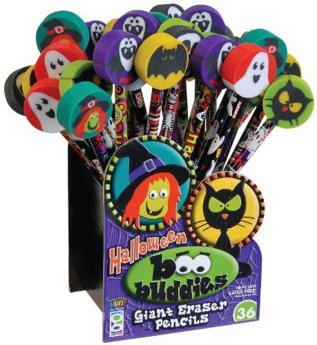 Geddes Boo Buddies Pencil with Giant Eraser Assortment - Set of -