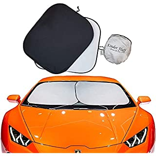 kinder Fluff Car Windshield Sunshade-The only Certified car Sun Shade for Windshield to Block Over 99.87 % UVR Keeping Your Vehicle Cooler- Windshield Sun Shade (Large)