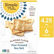 Simple Mills Almond Flour Crackers, Fine Ground Sea Salt, 4.25 Ounce (Pack of 6) (PACKAGING MAY VARY)
