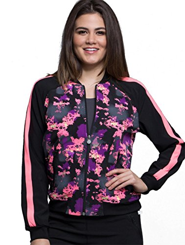 Cherokee Infinity Women's Zip Front Warm-Up Abstract Print Scrub Jacket X-Small Print