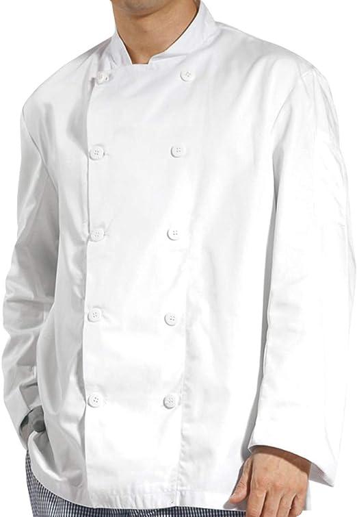 Kitchen Cooker Long Sleeve Coat Chef Working Uniform Jacket White Color
