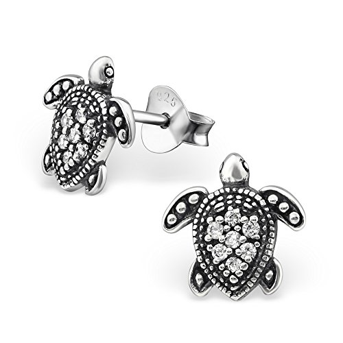 925 Sterling Silver Oxidized Crystal CZ Turtle Stud Earrings for Women or Girls 30818 (Nickel Free) (Butterfly Earrings Oxidized)