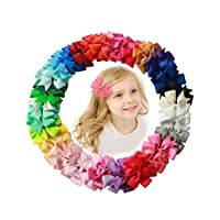 "Fani 40 Pcs 3""Grosgrain Ribbon Pinwheel Boutique Hair Bows Clips For Baby Girls Teens Toddlers Kids Children with 40 Colors"