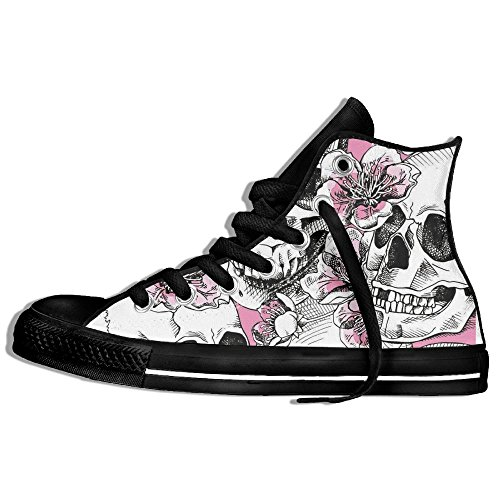 Skull High Top Shoes (Roses Skull Printed Fashion Woman High Top Sneakers Shoes Lace Up Cavans Lightweight Casual Shoes)