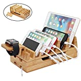 Pezin & Hulin Bamboo Charging Station Holder, Wood Docking Stand Organizer for Multiple Devices, Phones, Tablets, Laptop, with Bonus Stand for Watch Charge (Without USB Charger and Cables)