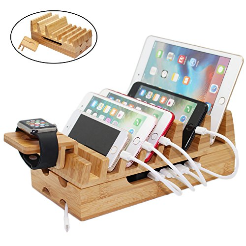 Pezin & Hulin Bamboo Charging Station Holder, Wood Docking Stand Organizer for Multiple Devices, Phones, Tablets, Laptop, with Bonus Stand for Watch Charge (Without USB Charger and (Cell Docking Station)