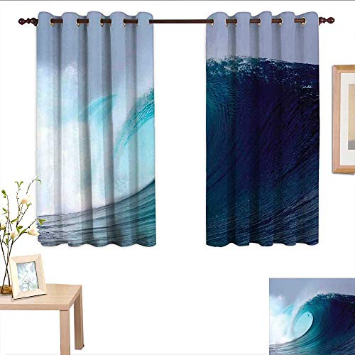 Qenuanmpo Pattern Curtains Ocean Decor,Tropical Surfing Wave on a Windy Sea Indonesia Sumatra,Living Room and Bedroom Multicolor Printed Curtain Sets 52