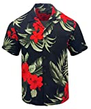 Tropical Luau Beach Floral Print Men's Hawaiian Aloha Shirt (XX-Large, Black/Red)