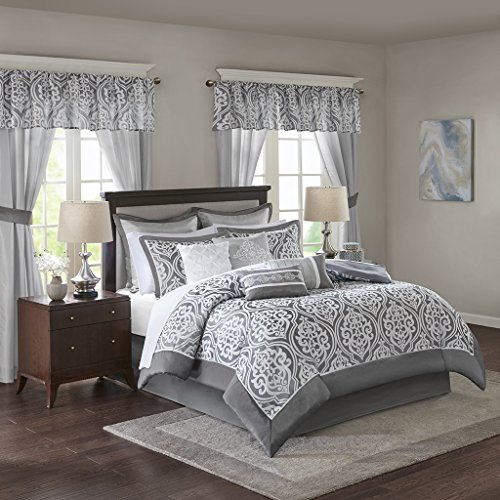 Madison Park Essentials Jordan King Size Bed Comforter Set Room In A Bag - Grey, Jacquard Damask – 24 Pieces Bedding Sets – Faux Silk Bedroom Comforters ()