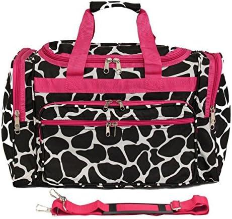 World Traveler 22 Inch Duffle Bag, Fuchsia Trim Giraffe, One Size