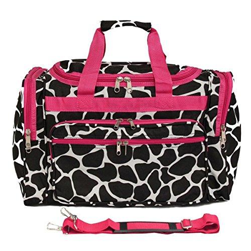 - World Traveler 22 Inch Duffle Bag, Fuchsia Trim Giraffe