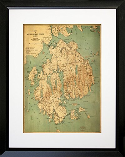 Amazon framed map of mount desert island maine 16x20 matted framed map of mount desert island maine 16x20 matted art print poster vintage map gumiabroncs Choice Image