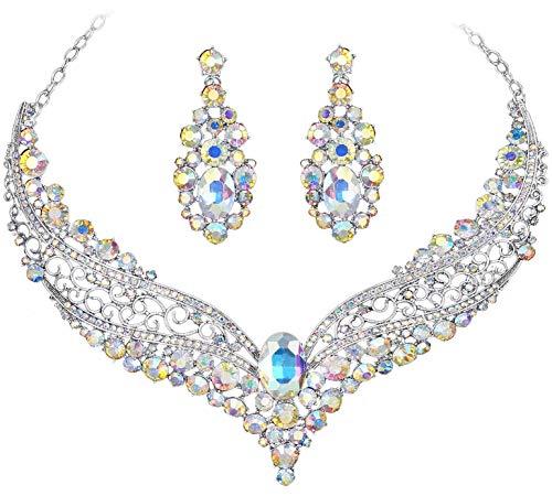 (VF YT297 Clear AB Rhinestone Crystal Alloy Earrings Necklace Set Bridal Wedding Party Prom)