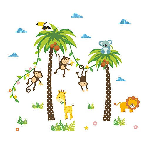 (ElecMotive Cartoon Forest Animal Monkey Crow Koala Coconut Palm Tree Nursery Wall Stickers Wall Murals DIY Posters Vinyl Removable Art Wall Decals for Kids Girls Room Decoration (Monkey Lion Giraffe))