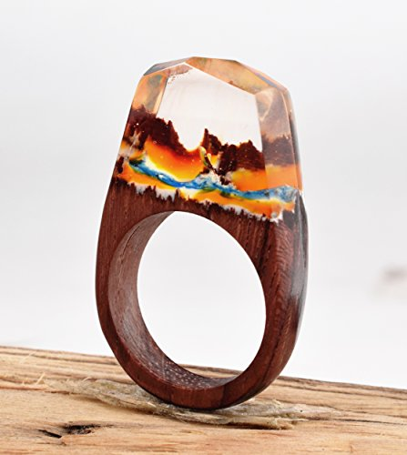 Heyou Love Handmade Wood Resin Ring With Volcano Scenery Landscape Inside Jewelry by Heyou Love (Image #5)