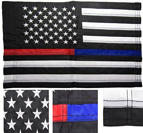 ALBATROS 12 in x 18 in Embroidered Sewn USA Thin Red Blue Line Nylon Sleeved Garden Flag for Home and Parades, Official Party, All Weather Indoors Outdoors ()