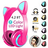 Kids Cat Ear Headphones for Girls Boys Women, Wired/Wireless Bluetooth Headphones with Mic Volume Control Hi-Fi Stereo 7 Colors LED Lights Over Headset for Game PC Tablets Laptop Device