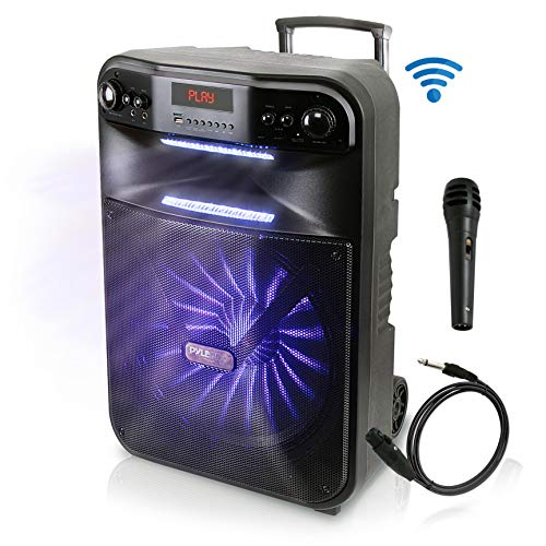 - Pyle Wireless Portable PA System-600W Bluetooth Compatible Battery Powered Rechargeable Outdoor Sound Speaker Microphone Set with MP3 USB SD FM Radio AUX, LED Dj Lights, Wheels (PWMA447BT)
