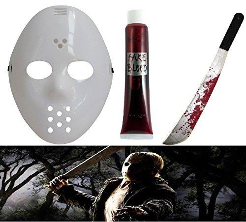 Friday the 13th Adult White Hockey Mask & Jason Machete Halloween Fancy Dress Costume Accessories (Mega_Jumble) by (Jason Fancy Dress)
