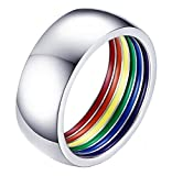 ALEXTINA 8MM Simple Style Stailess Steel LGBT Pride Ring Rainbow Stripes Inside Dome Shape Size 7