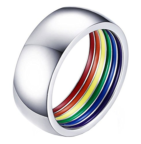 (ALEXTINA 8MM Simple Style Stailess Steel LGBT Pride Ring Rainbow Stripes Inside Dome Shape Size 9)