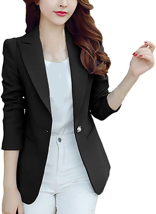 4fdd31fd802c Blazer Donna Elegante Business Slim Fit Manica Lunga di Colore Solido  Casuali Taglie Forti Donne Giubbotto Tailleur