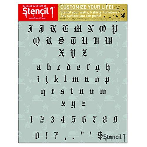 Stencil1 S1_ALPH_OE_10 1 Sheet Old English Font Alphabet Stencil, 8.5