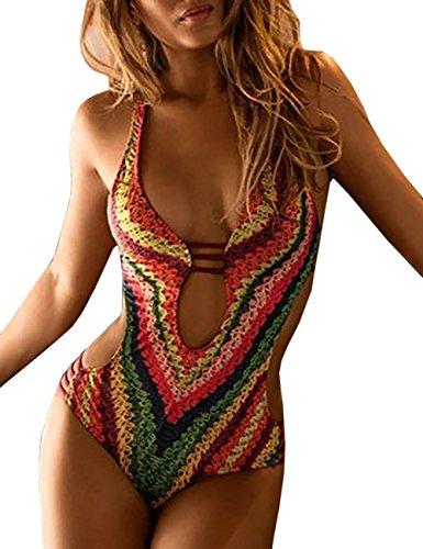 7834b196b50 Boutiquefeel Women s Print Criss-Cross Bikini Low Cut One-Piece Swimwear - Buy  Online in UAE.