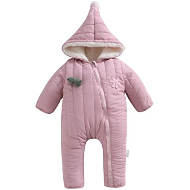 09fb9f9e40681 Y·J Back home Baby Snowsuit Girls Boys Fleece Lined Romper Puffer Jumpsuit  Winter Outerwear
