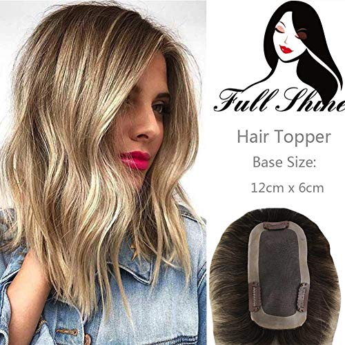 Full Shine Human Hair Crown Topper 14 Inch Balayage Color #3 Darker Brown Fading to #8 Light Brown and #22 Medium Blonde Crown Clip in Top Hairpiece Toupee For Thinning Hair 12x6CM 35g