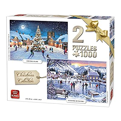 King 5217 Christmas Winter Collection 2 In 1 Puzzle 2 X Puzzle Da Pezzi 68 X 49 Cm