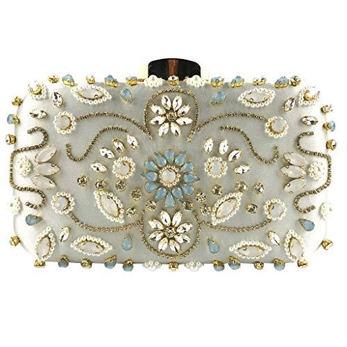 - Womens Clutches Glitter Floral Rhinestone Beaded Evening Bags Wedding Clutch Purse Chain Crossbody Bags Party HandBag