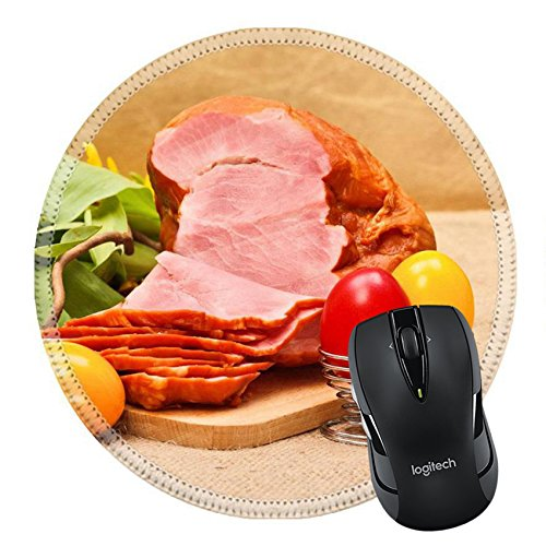 MSD Mousepad Round Mouse Pad/Mat 26899904 Boiled ham painted Easter eggs and tulips on rustic table