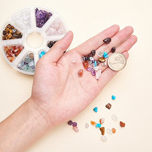 PandaHall Elite about 500pcs Mixed Color Chip Gemstone Beads for Jewelry Making, Mixed Stone, 7-12×5-8×3-5mm