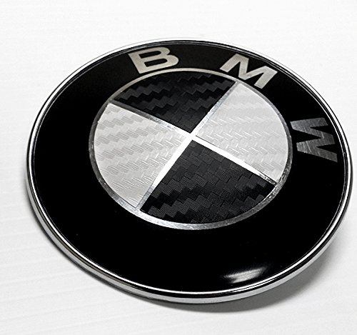 BLACK and WHITE Carbon Fiber Sticker Overlay Vinyl for All BMW Emblems Caps Logos Roundels - Bmw Hood Emblem