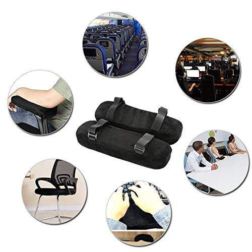 Memory Foam Armrest Pad for Chair Pillow Office Wheelchair, Ergonomic Elbows and Simple Forearms Arm Rest Cover Pressure Relief with Strap (Set Of 2)
