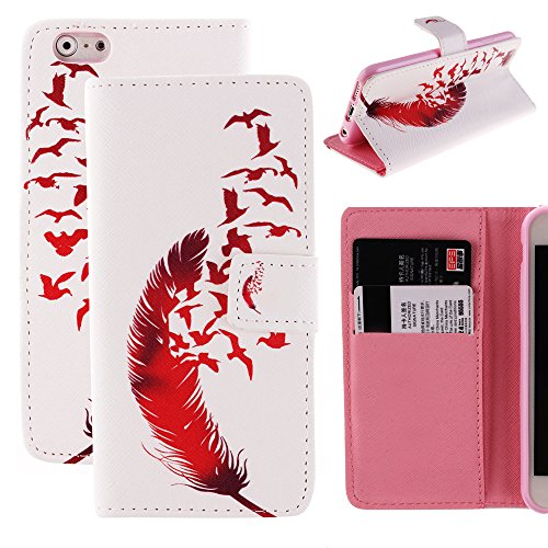 iPhone 6s Case,Wild Wolf Feather [Wallet][Kickstand] Cellphone Cover Case New Style Pu Leather Flip Cover with Card Holder Slots for Apple iPhone 6s
