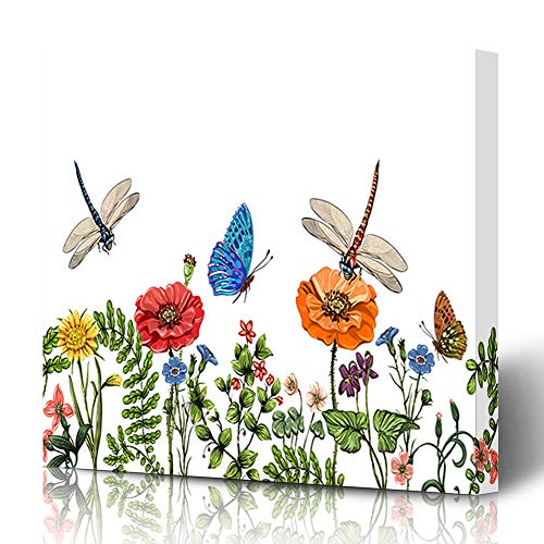 Ahawoso Canvas Prints Wall Art 12x16 Inches Fine Floral Border Dragonflies Butterflies Flowers Dragonfly Oriental Nature Blooming Butterfly Decor for Living Room Office Bedroom