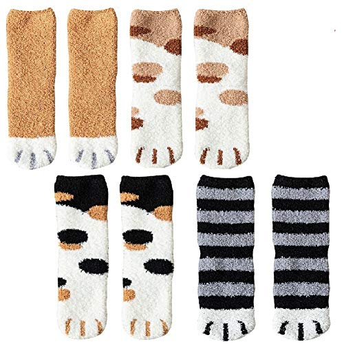 4 Pairs Winter Cat Claws Cute Thick Warm Sleep Floor Socks,Cat Paw Slipper Socks for Girls,Women (#1)