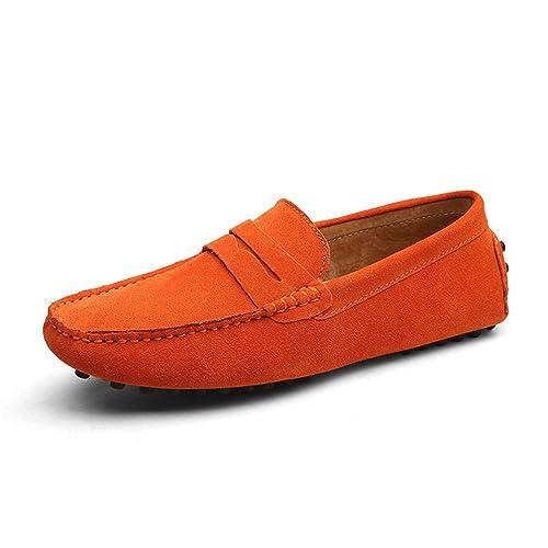 Hombres Mocasines Zapatos de Cuero Genuino Moda Verano Estilo Suave Mocasines Pisos Zapatos de conducción: Amazon.es: Zapatos y complementos