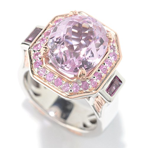 Michael Valitutti Palladium Silver Kunzite, Rhodolite & Pink Sapphire Halo ()