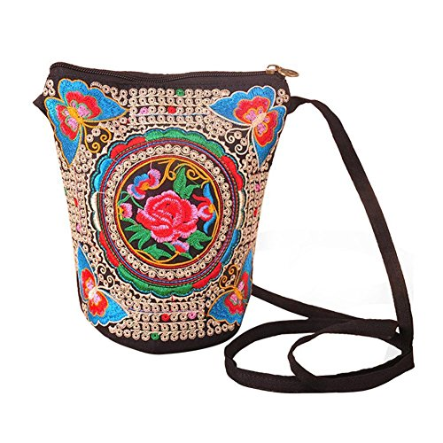 Froomer Women Girl Retro Ethnic Flower Embroidered Handmade Handbag Hmong Bag (B)