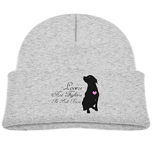 Kids Knitted Beanies Hat Lovers Not Fighters Pit Bull Rescue Winter Hat Knitted Skull Cap for Boys Girls Gray]()