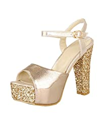 ENMAYER Women's Buckled up High Heel Platform Sandal Shoes With Fashion Sequins For Party
