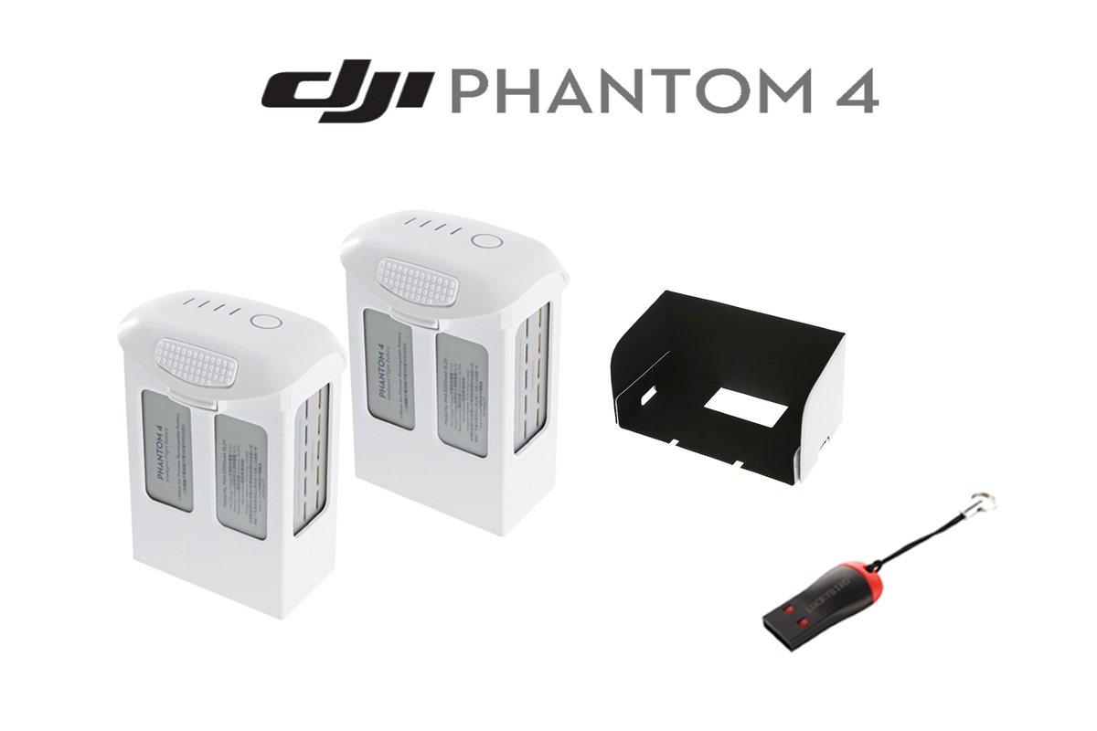 DJIファントム4アクセサリーバンドル: Includedインテリジェントフライトバッテリーfor DJI Phantom 4 , DJI Phantom 4 – リモートコントローラーモニタフードforスマートフォン& LUCKYBIRD USBリーダー   B01E58P7T6