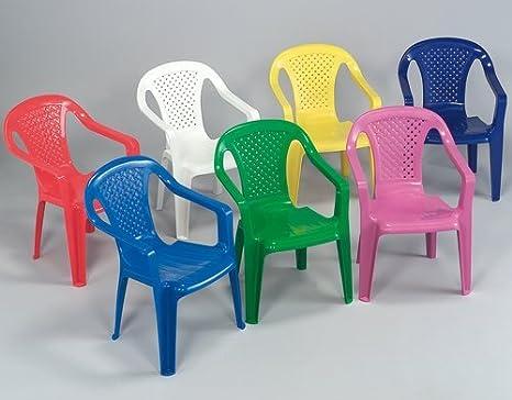 Sedia con braccioli in resina colorata per bambini colori