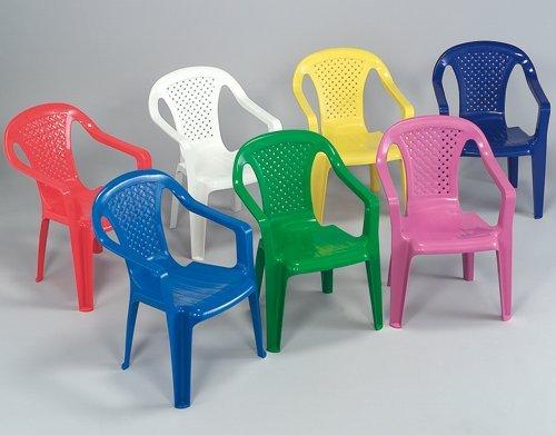 Colori assortiti set 4 pezzi Sedia con braccioli in resina colorata per bambini
