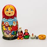Matryoshka Theater 7pcs Riaba the Hen Fairy Tale New Beautiful Red Wooden Russian Nesting Dolls Gift Matreshka Handmade