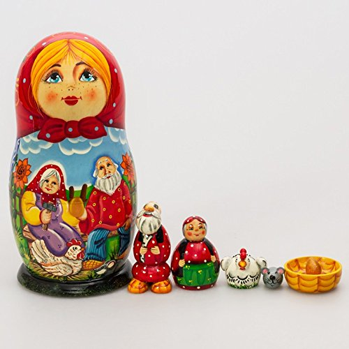 Matryoshka Theater 7pcs Riaba the Hen Fairy Tale New Beautiful Red Wooden Russian Nesting Dolls Gift Matreshka Handmade by Dom Berendeya